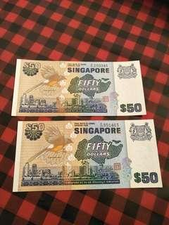 Sg old $50 brid  note 2pc x $68