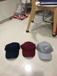 Washed preloved navy maroon grey plain cap