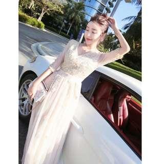 Pre order grey gold long sleeve wedding prom bridesmaid dress  RBP0921