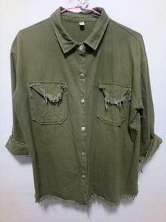 🚚 軍綠色牛仔外套