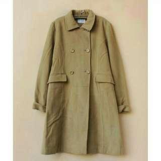 🚚 Vintage 古著駝色雙排扣毛呢長大衣 羊毛70%
