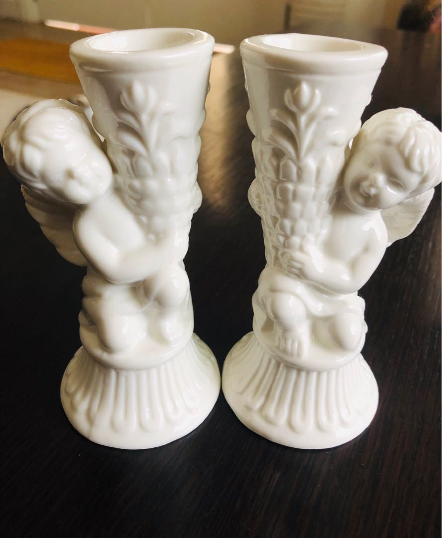 New set of porcelain angel candle holder furniture home decor others on carousell