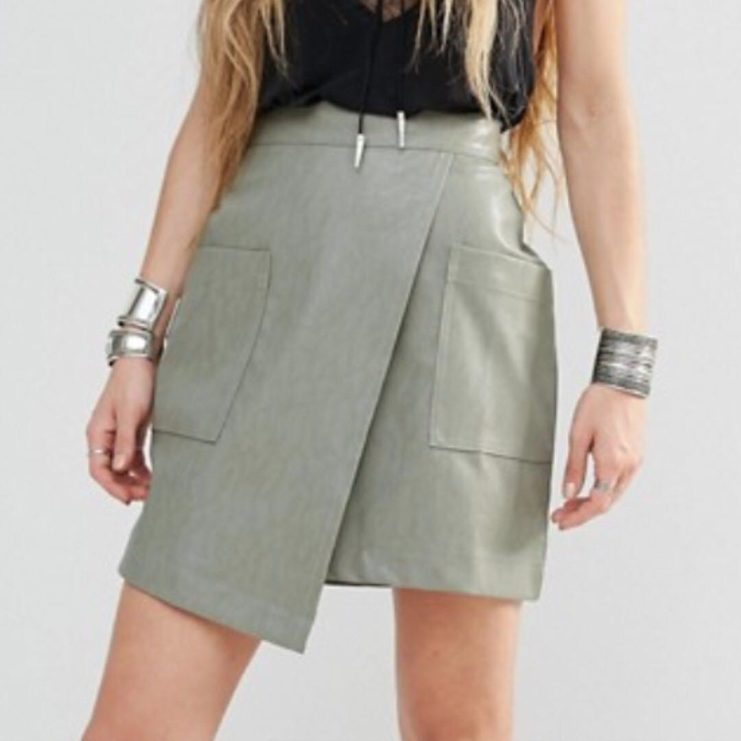 91aeb2f6c ASOS Boohoo Leather Look Wrap Skirt, Women's Fashion, Clothes ...