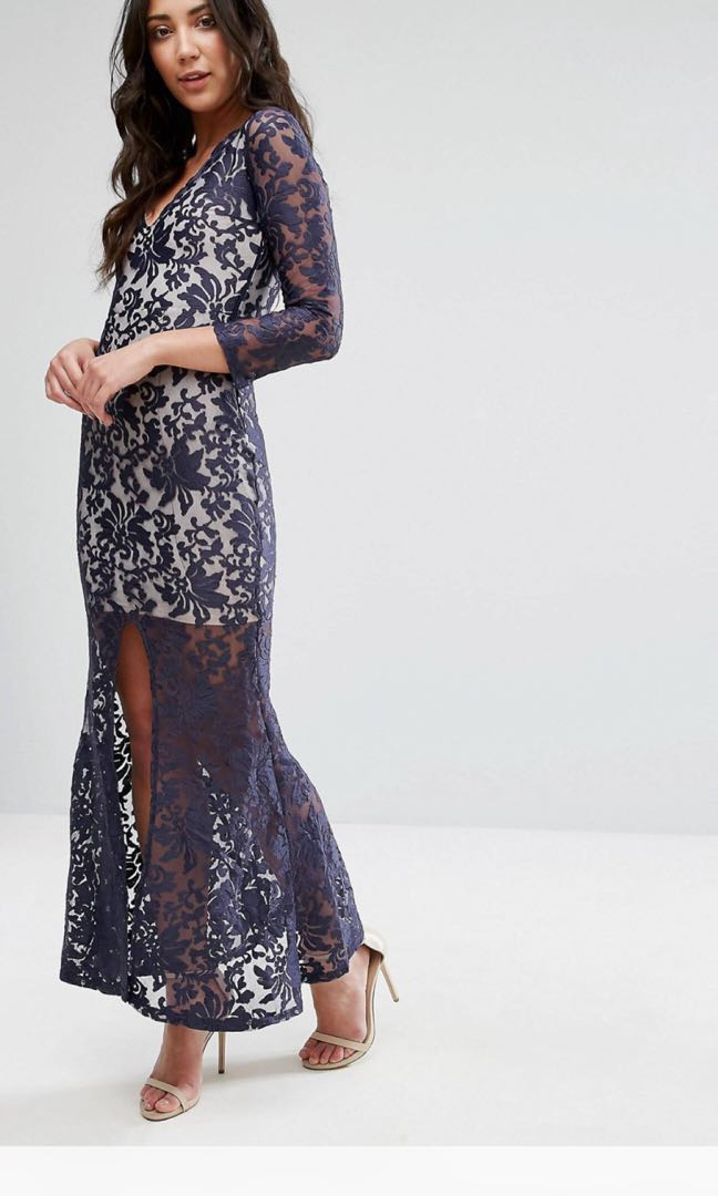 198f90953c6 ASOS Club L Brocade Embroidery Long Sleeve Maxi Dinner Dress with Split  Front  OCT10