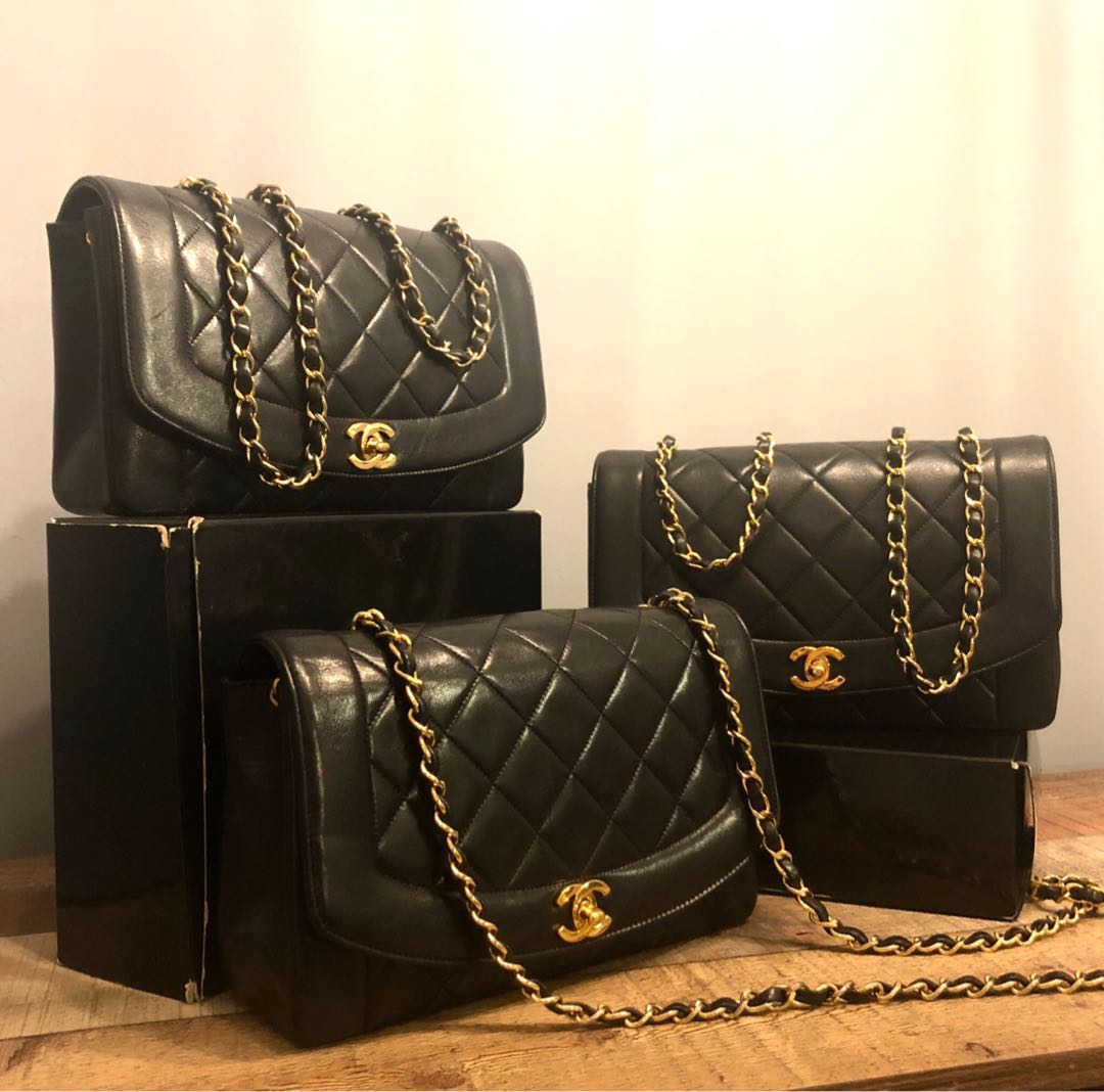 a026c2e8b7223d Authentic Chanel Diana Flap Bag in 10 Inch Size w Gold Hardware ...