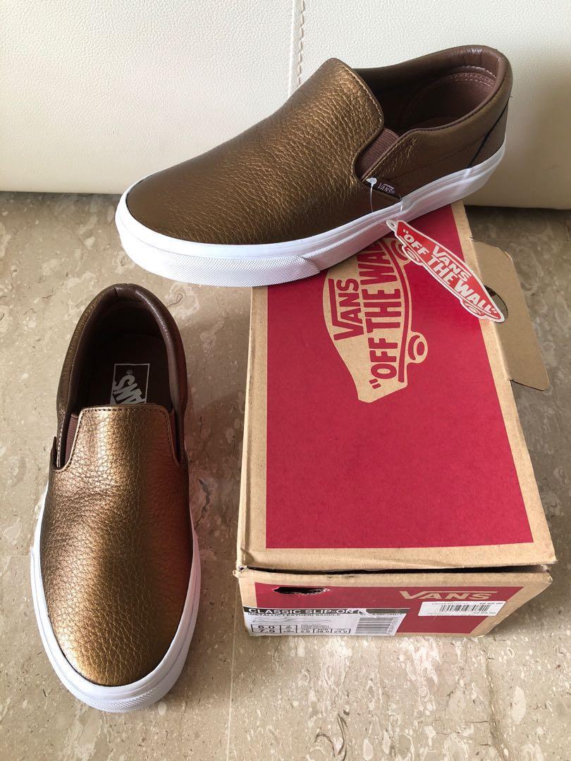 7f3970242c83 BN  89 Vans Leather Metallic Classic Slip On Shoes
