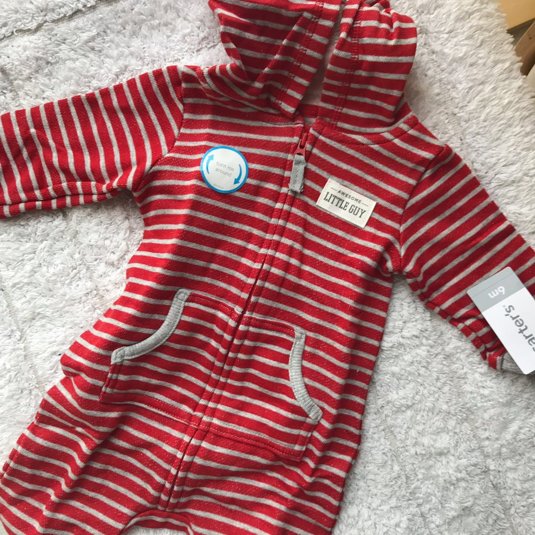 f6fd51aea BN Carters Baby Boy Red Striped Bear One Piece Romper Coverall 6mths ...