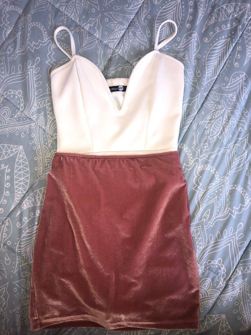 bodysuit & velvet mini skirt
