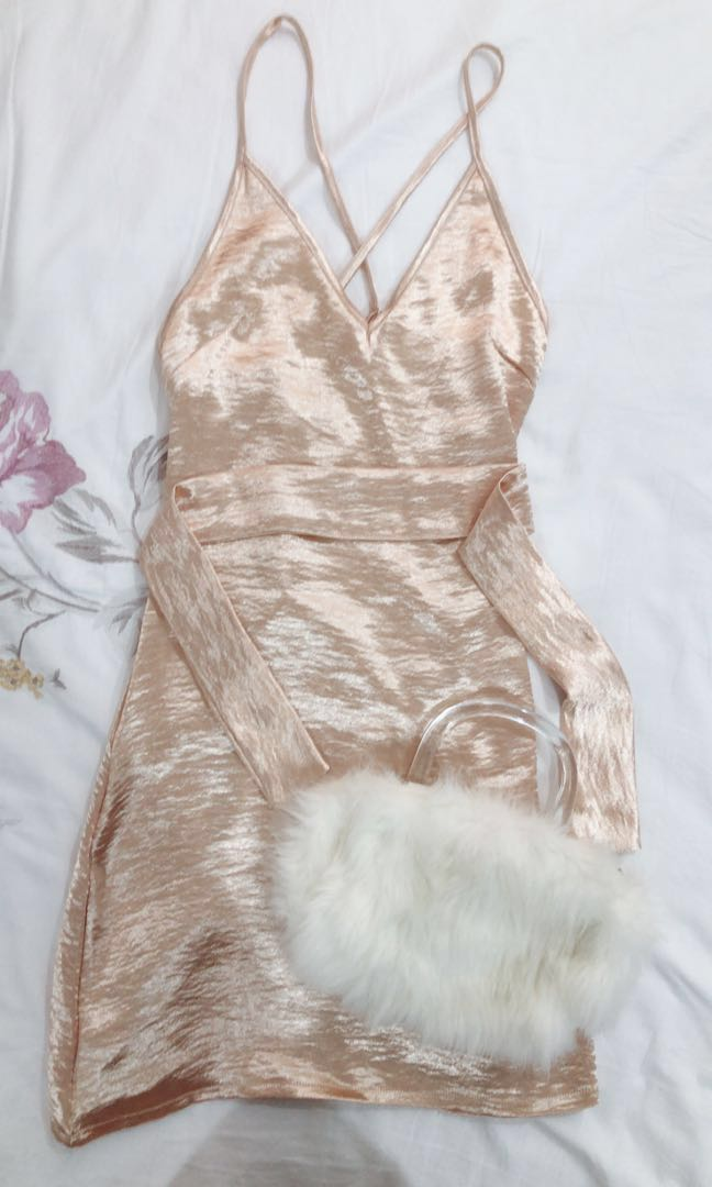 26b91db33f62 Bundle Sale: (UP $42) LN Rose Gold Satin Silk Slip Dress & White Fur ...