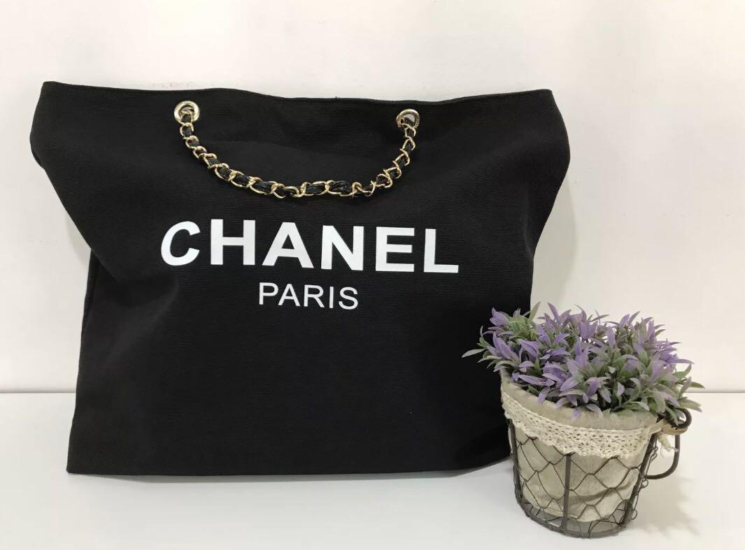 bf661666331 Chanel Beauty Canvas Tote Bag with Faux Leather and Gold Chain ...