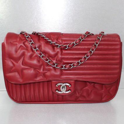 4bf6c40a93ff Chanel Dark Red Lambskin Shoulder Bag, Luxury, Bags & Wallets ...