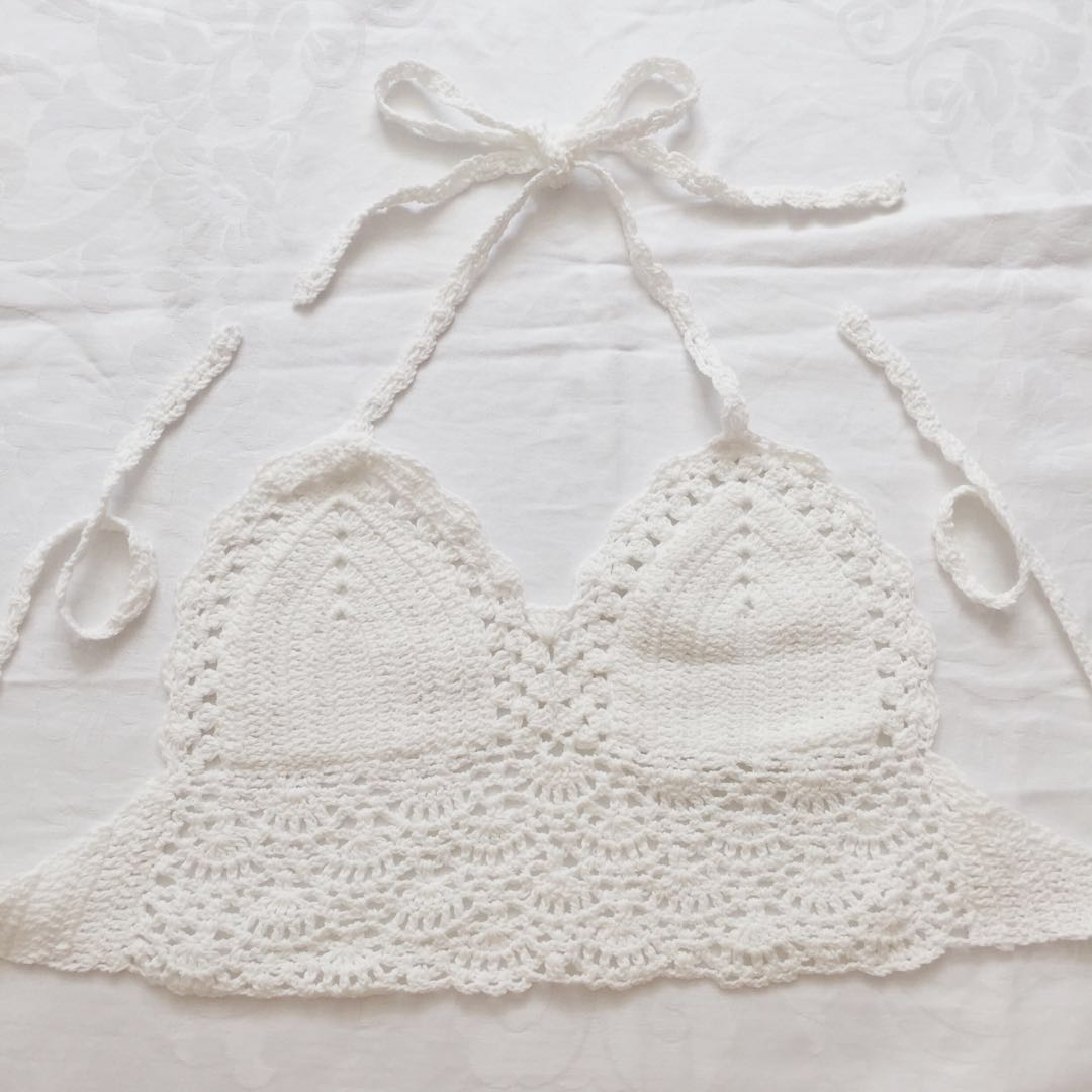 Crochet Knitted Crop Top White Womens Fashion Clothes Tops On