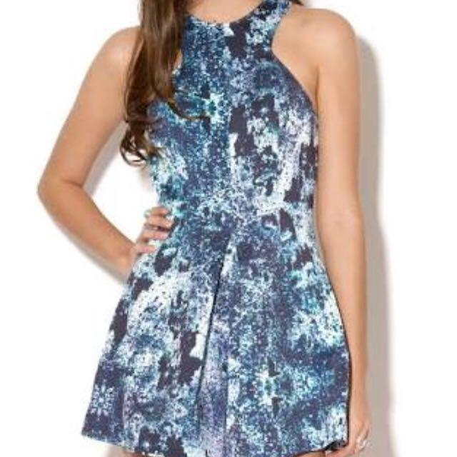 ♦️Finders keepers XS blue black patterned romper jumpsuit