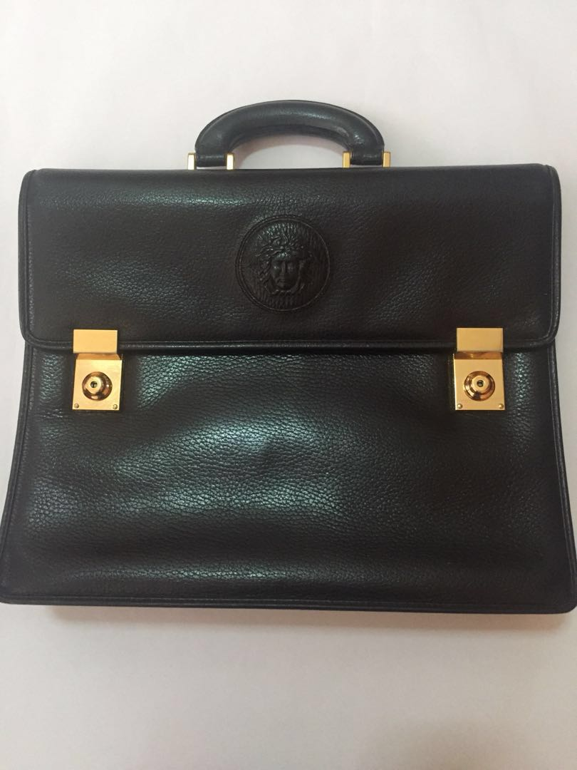 2dc582bc973 Gianni Versace Medusa Head Leather Briefcase, Luxury, Bags & Wallets ...