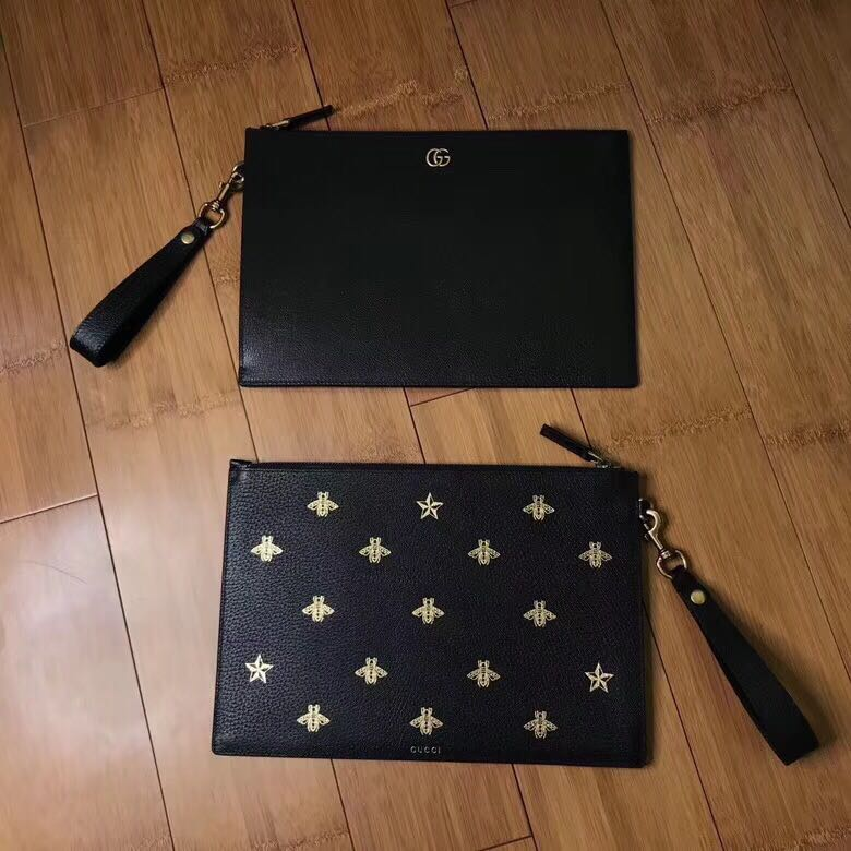62d53a17edfc58 Gucci Bee star leather pouch, Luxury, Bags & Wallets, Handbags on Carousell