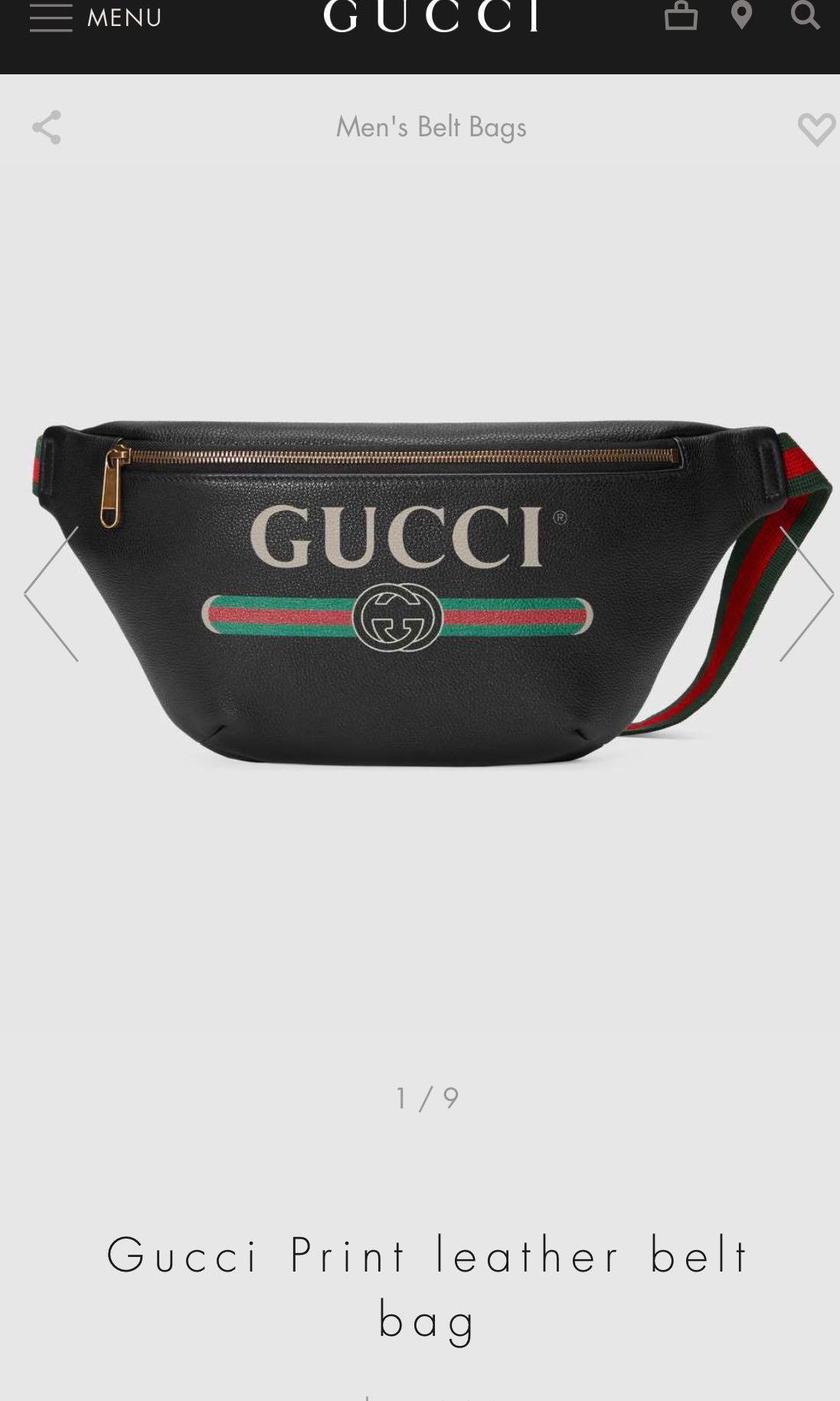 900c463599f8 Gucci Print Leather Belt Bag, Luxury, Bags & Wallets, Handbags on ...