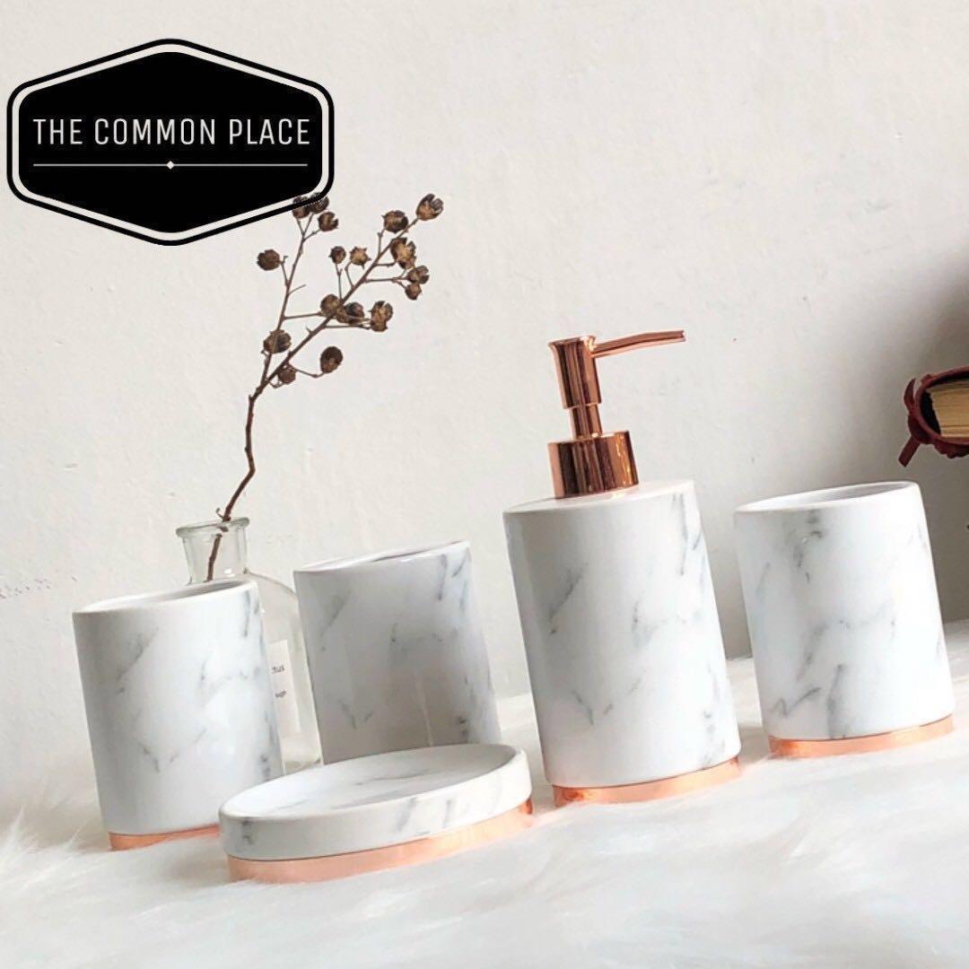 Hari Raya Sale* Marble Print Rose Gold Ceramic Bathroom Cup