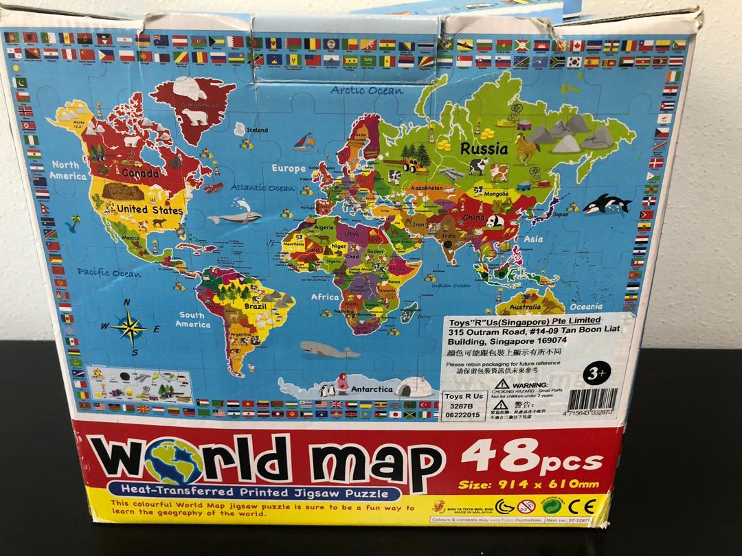 Jigsaw Puzzle (World map & dinousaurs), Toys & Games, Others ...