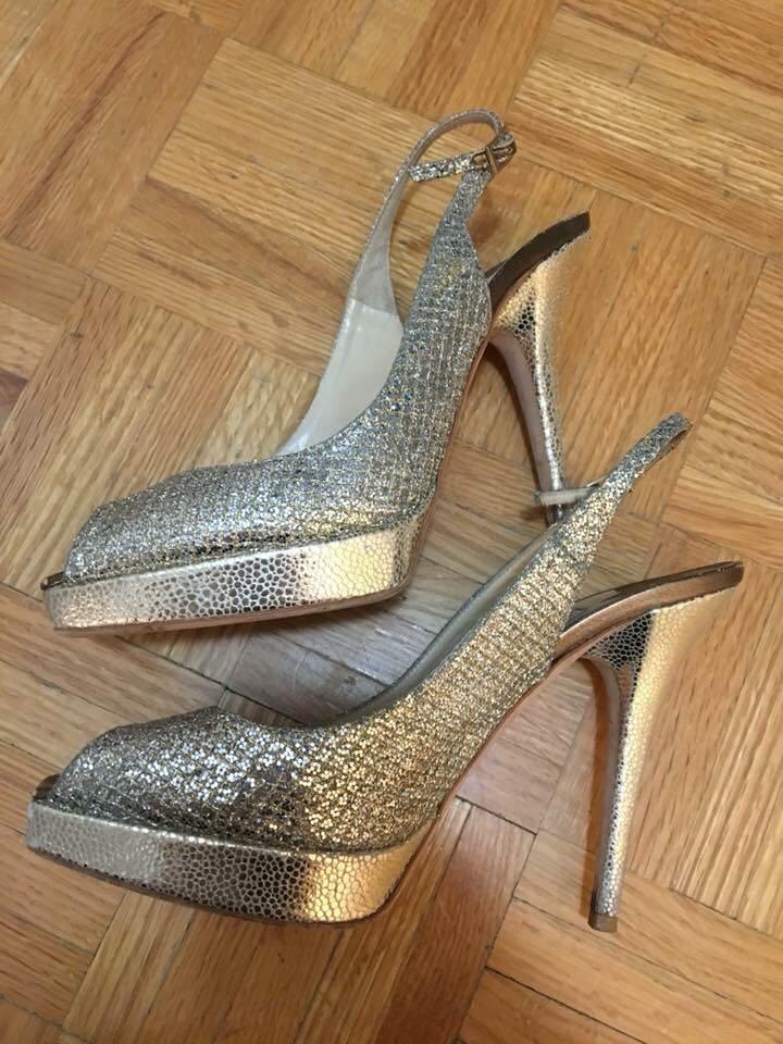 Jimmy Choo champagne glitter peep toe sandals