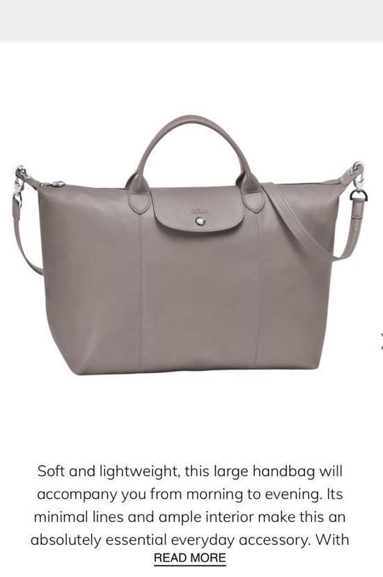 9e10c0f6cad3 Longchamp Le Pliage Cuir Leather (Pebble Grey)