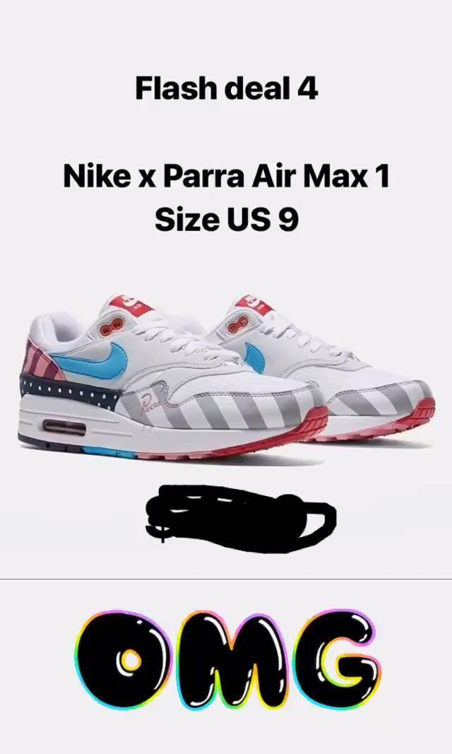 ON HAND*Nike Air Max 1 Parra, Men's Fashion, Footwear
