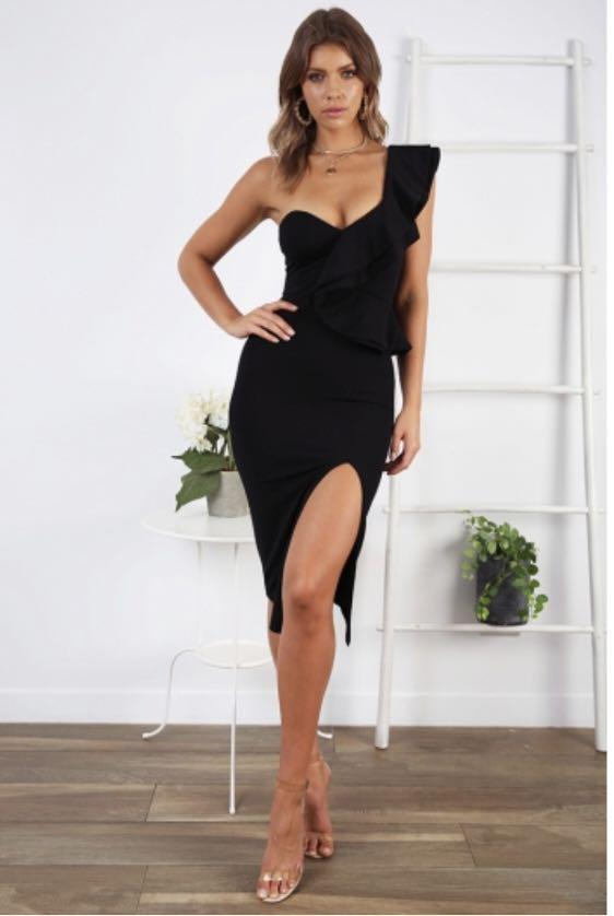 One Shoulder Black Midi Dress