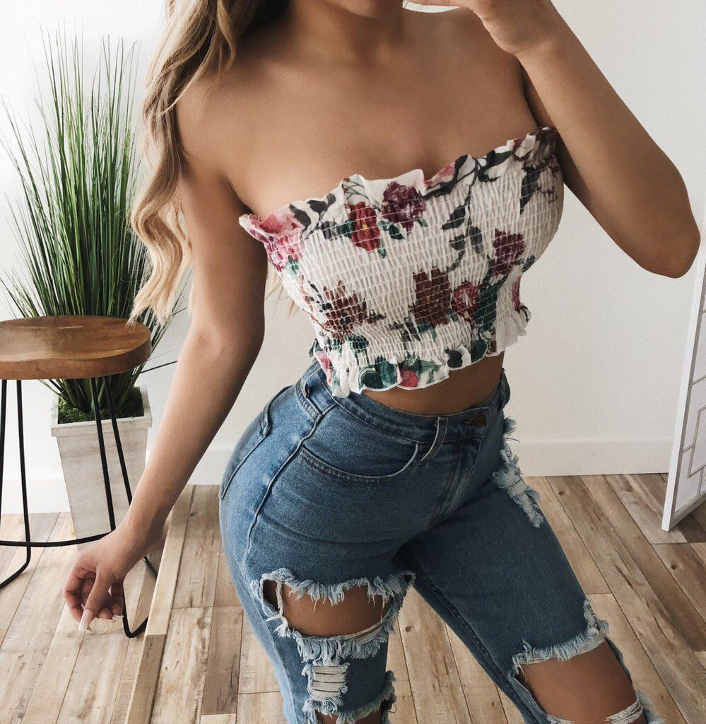 6a4ced6f1fe14c ootdfash  floral smock tube top