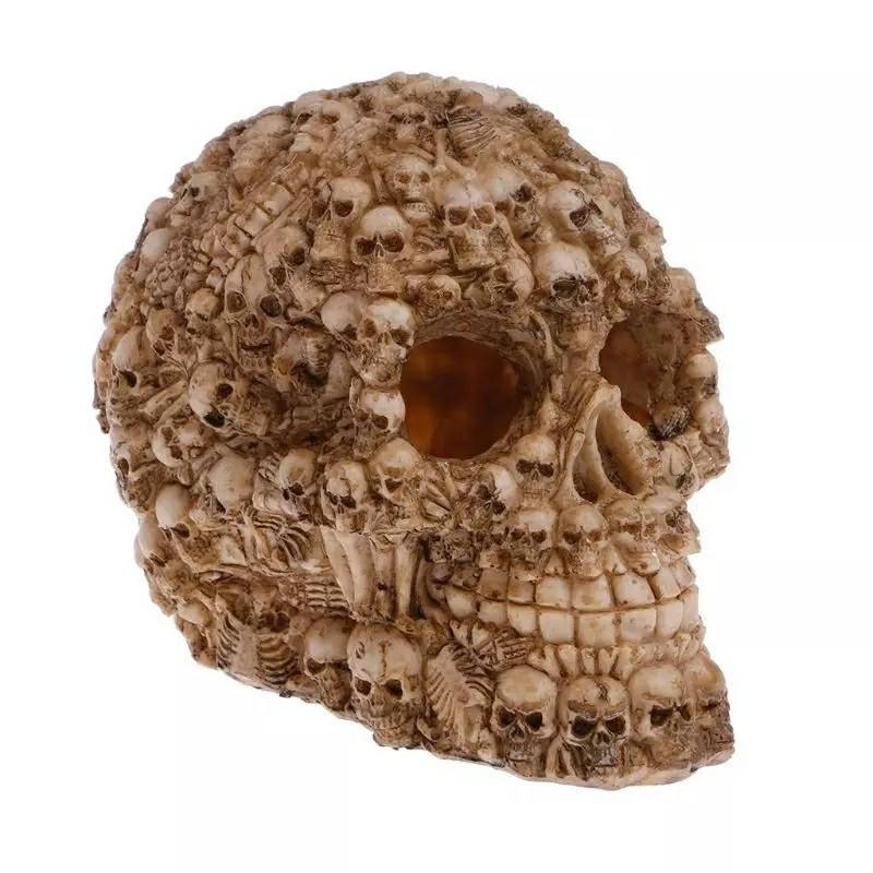 Skull Shape Terrarium Reptile Hide Cave Aquarium Fish Tank Landscape