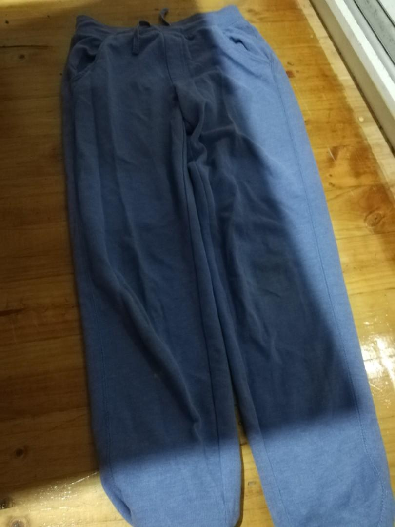 Sweatpants: light blue, orangish peach, grey and black.