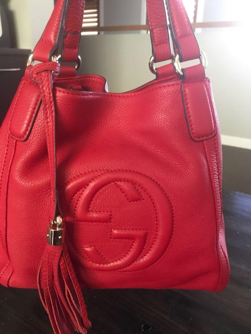 Top quality Gucci tasseled top handle bag crossbody leather in red