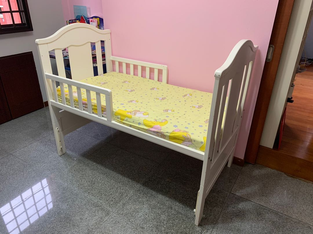White toddler bed adjustable height furniture beds mattresses on carousell