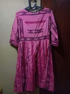 Dress Batik Tenun Ikat Etnik Kerja Pesta