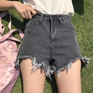 Ulzzang Dark Grey Denim Frayed HWS