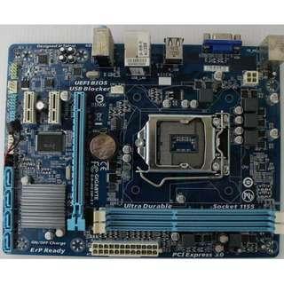 🚚 技嘉GA-H61M-S1 (rev. 2.2) 1155腳位主機板、支援2代、3代處理器、拆機良品 ~ 附檔板