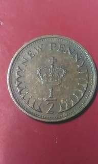 Old Coin 1/2 New Penny