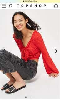 Topshop red polka dot blouse