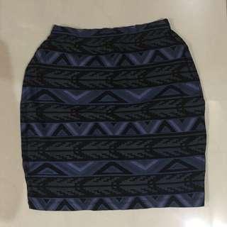Blue Aztec Mini Skirt