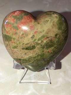 玫瑰石原礦愛心💚附透明架
