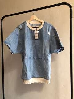 Denim sweatshirt with rips