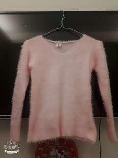 🚚 【新】甜美粉色毛上衣