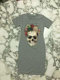 Rose Skull Head T-Shirt Dress