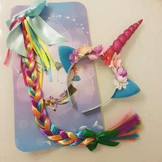 Unicorn headband and ponytail