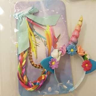 Rainbow Unicorn headband and ponytail