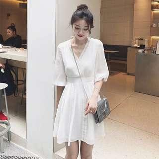 🚚 White Lace Trimmed Dress