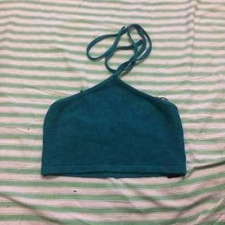 forever 21 turquoise tube/bandeau crop top