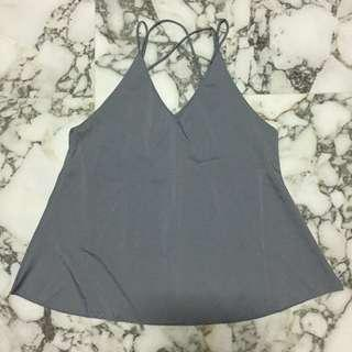 Grey Cross Back Top
