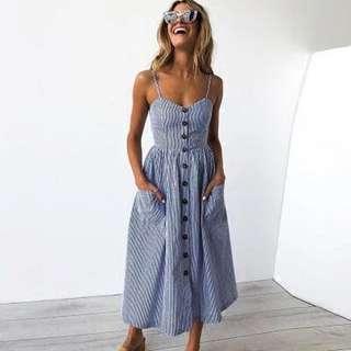 🚚 Navy Pinstriped Summer Dress