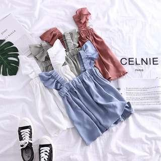 🚚 White Chiffon Flutter-sleeve Top