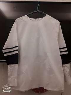 🚚 【新】蕾絲拼接純白上衣