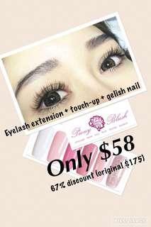 $58 eyelash extension + touch up + gel mani